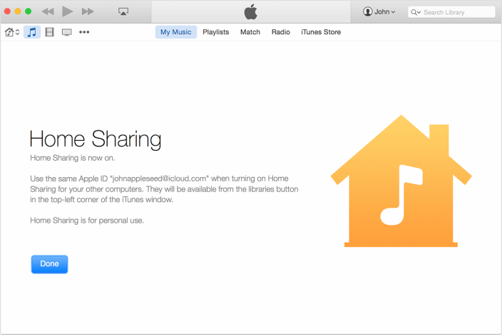 iTunes 12 Home Sharing